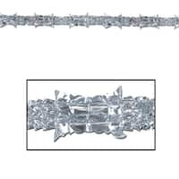 Club Pack of 12 Metallic Silver Christmas Garland Party Decorations 9' - Unlit