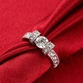 White Gold-Plated Italian-Cut Eternity Ring - Thumbnail 4