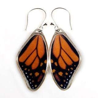 Women's Handcrafted Monarch Butterfly Wing Dangle Earrings - multi