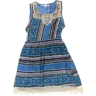 Beautees Girls Crochet Trim 2 PC Casual Dress - 16