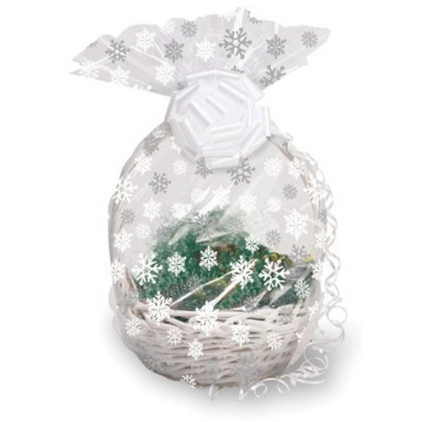 pack of 12 clear large snowflake christmas cellophane gift basket bags 24