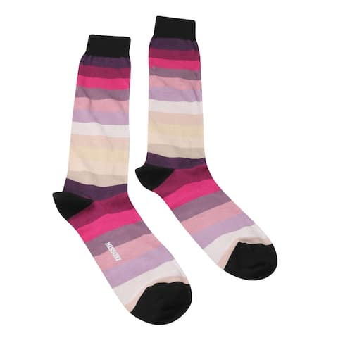 Missoni GM00CMU5686 0001 Purple/Cream Calf Length Socks