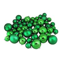 "50ct X-Mas Green Shiny and Matte Shatterproof Christmas Ball Ornaments 2.4""-3""-4"""