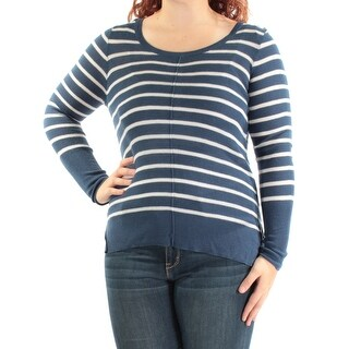 HIPPIE ROSE Womens New 1053 Blue Ivory Striped Scoop Neck Sweater XS Juniors B+B