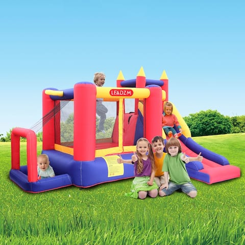 Inflatable Bouncer House with Air Blower, Jumping Castle with Slide, Family Backyard Bouncy Castle