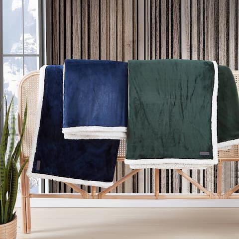 Eddie Bauer Solid Ultra Soft Plush/Sherpa Reversible Blanket