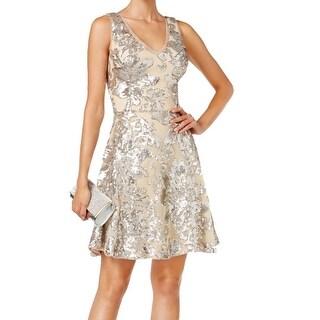 Betsy & Adam NEW Beige Silver Women's Size 8 Sequin Sheath Dress