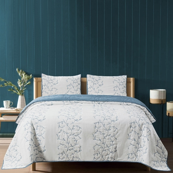 Beaute Living Cotton Embroidery 3-Piece Quilt Set. Opens flyout.