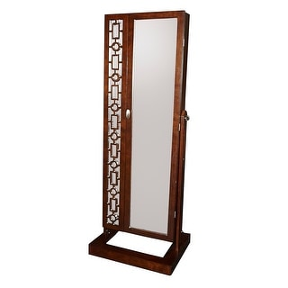 """Powell Home Fashions D1067J17  Amelia - 64"""" Tall 6 Drawer Wood Freestanding Framed Jewelry Mirror - Cherry"""
