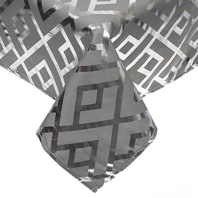 Trellis Silver Foil Printed Tablecloth