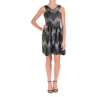 Aqua Womens Cocktail Dress Metallic Lace