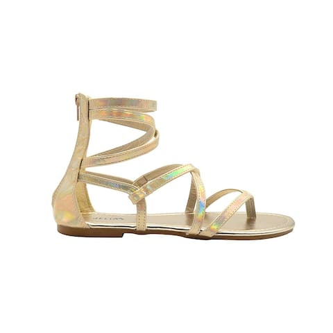 dELiAs Ladies Gladiator Holographic Gladiator Summer Flats