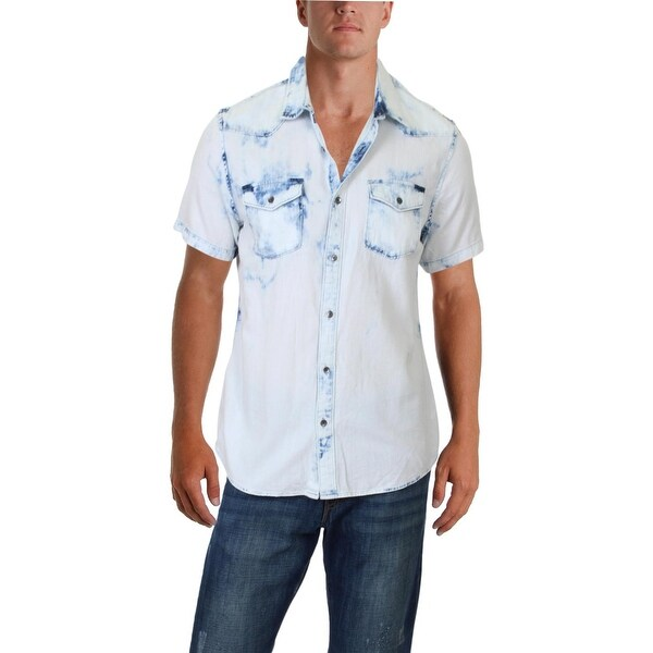 3298b549b2 Shop Guess Mens Western Shirt Slim-Fit Tye-Dye - L - Free Shipping On  Orders Over  45 - Overstock - 26456161