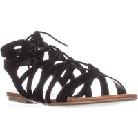 AR35 Marlie Flat Lace-Up Sandals, Black
