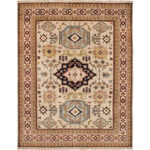 ECARPETGALLERY Hand-knotted Royal Kazak Ivory Wool Rug - 7'10 x 10'0