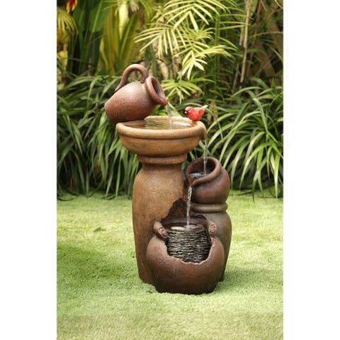 Rustic Brown Pitcher and Pot Tiered Outdoor Resin Fountain
