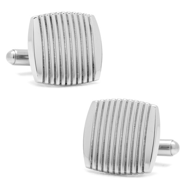 Stainless Steel Ribbed Square Cufflinks