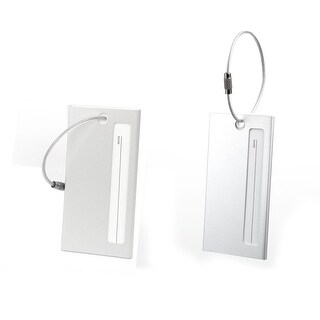 2pcs Aluminium Metal Travel Luggage Tags Card Holder Silver Tone - Multi