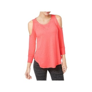 Calvin Klein Performance Womens Pullover Top Cold Shoulder Fitness