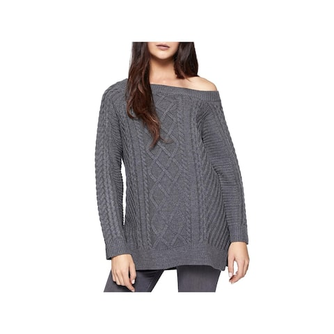 Sanctuary Womens Tinsley Pullover Sweater Cable Knit Off-the-Shoulder