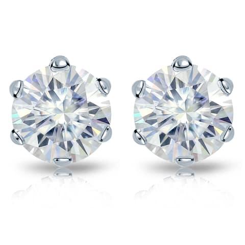 Auriya Platinum 1ctw Round Moissanite Stud Earrings - 5 mm, Push-Backs