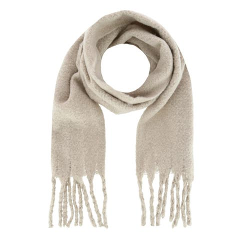 Alexa Rose Women's Solid Textured Winter Scarf with Fringe - one size