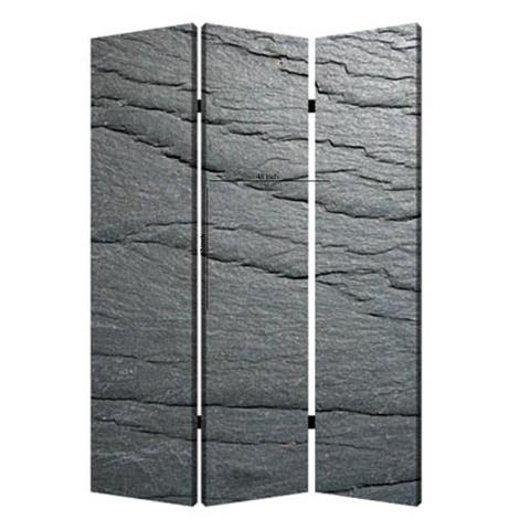 3 Panel Canvas and Metal Frame Room Divider, Slate Gray - 72 H x 2 W x 48 L Inches