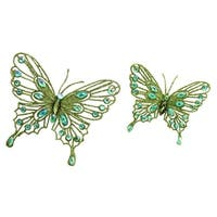Pack of 8 Bright Green Jeweled Butterfly Clip-On Christmas Ornaments 5.75""