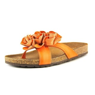 White Mountain Sandbar Women Open Toe Leather Orange Thong Sandal