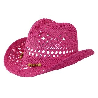 CTM® Girls' Straw Beaded Trim Cowgirl Western Hat