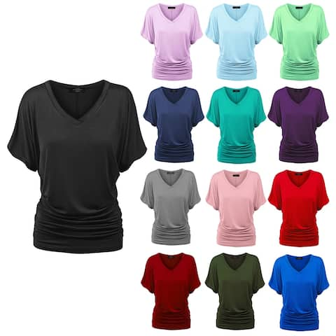 Womens Solid Short Sleeve V-Neck Dolman Top with Side Shirring