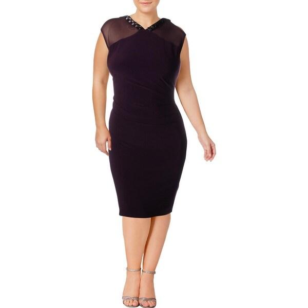 Lauren Ralph Lauren Womens Midi Dress Cap Sleeves Mid-Calf