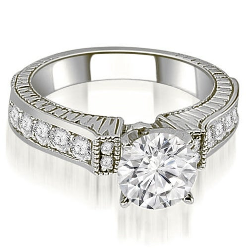 1.05 cttw. 14K White Gold Antique Round Cut Diamond Engagement Ring
