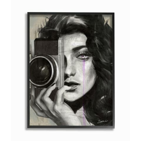 Stupell Industries Portrait of a Female Photographer Black And White Drawing Framed Wall Art