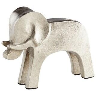 Cyan Design 08884  Tusk Tusk! Aluminum Elephant Statue - Raw Nickel
