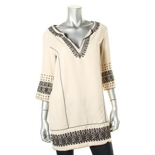 Pam & Gela Womens Tencel Embroidered Tunic Top - p