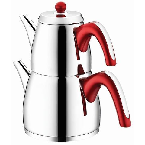 Ece Stainless Steel, Turkish Teapot for 2 people, 2.3 qt - 2.3 qt