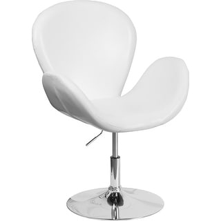 Brielle White Leather Side Office Reception/Guest Chair w/Curved Arms
