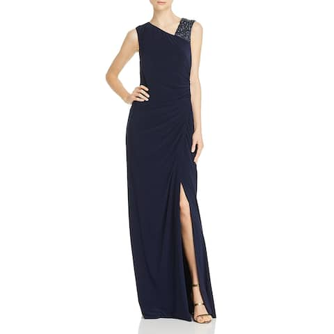 Adrianna Papell Womens Formal Dress Asymmetric Beaded