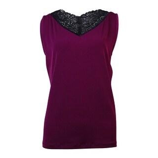 Jones New York Women's Lace Trim Sleeveless Blouse - l