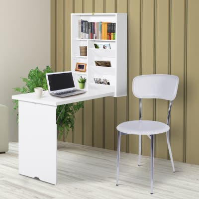 HOMCOM Compact Fold Out Wall Mounted Convertible Desk With Storage, White