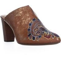 Patricia Nash Roberta Embroidered Slip On Mule Sandals, Tan/Gold - 11 us / 41 eu