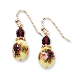 Rosetone Dark Purple/Floral Decal Drop Earrings