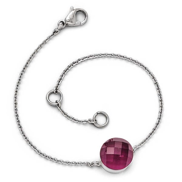 Chisel Stainless Steel Polished Maroon Glass with 1 inch Extension Bracelet