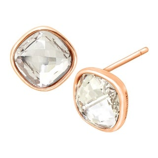 Crystaluxe Solitaire Stud Earrings with Swarovski Crystals in 18K Rose Gold over Sterling Silver - White