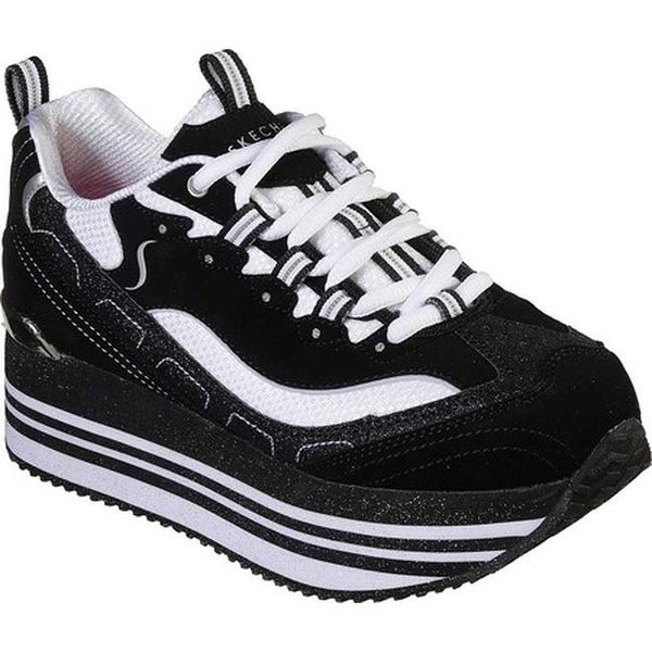 a449a2f4f23 Shop Skechers Women s Highrise Delightfully High Platform Sneaker  Black White - Free Shipping Today - Overstock - 27348351