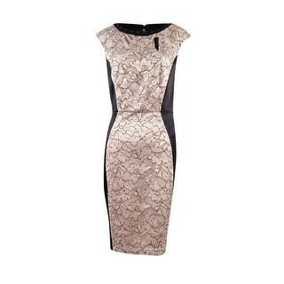 Jax Women's Embellished Lace Cutout Neck Dress - NATURAL/BLACK