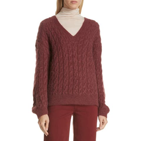 Vince Red Womens Size Medium M Wide V-Neck Cable Knit Sweater