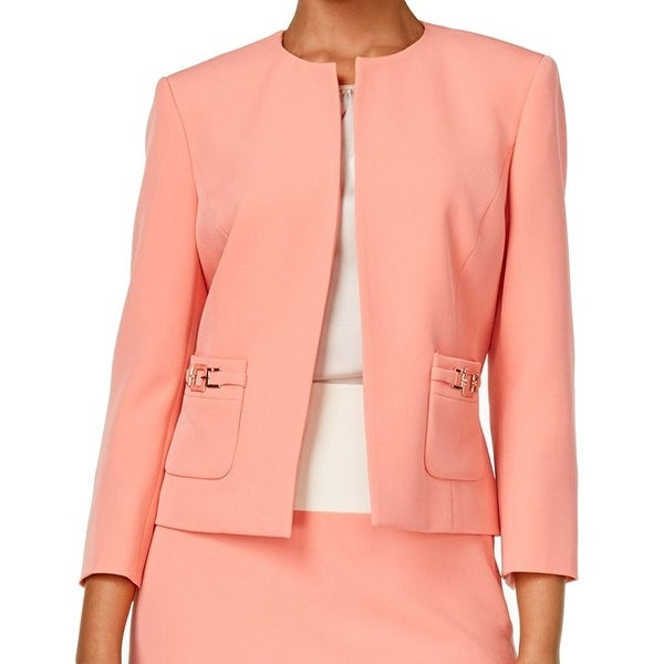ed999d9fc1838 Shop Kasper NEW Pink Apricot Women s Size 12 Open Front Two-Pocket Jacket -  Free Shipping On Orders Over  45 - Overstock.com - 18373171