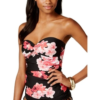 Calvin Klein Womens Floral Print Strapless Swim Top Separates - L